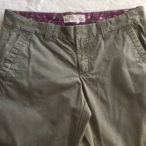 Olive Green Cotton Pants With Stitching Details